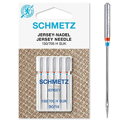 SCHMETZ Nähmaschinennadeln: 5 Jersey-Nadeln, Nadeldicke 90/14, 130/705 H-SUK, auf jeder gängigen Haushaltsnähmaschine einsetzbar, geeignet für das Verarbeiten von Jersey, Strick- und Wirkwaren