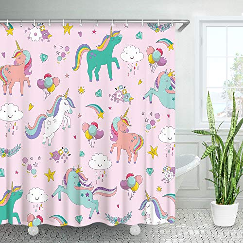 LIVILAN Unicorn Kids Shower Curtain Set with 12 Hooks, Colorful Girl Baby Fabric Bath Curtain, Cute Cartoon Animal Modern Bathroom Decor, White, Machine Washable (Pink, 72' X 72')