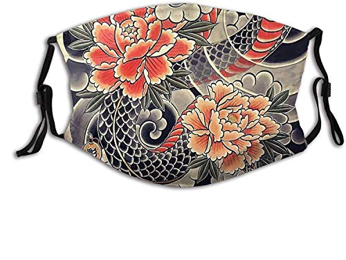 Pink Red Japanese Floral Face Mask with Filter Pocket Washable Reusable Face Bandanas Balaclava -Japanese Snake & Peonies Flower Tattoo Ink-1 PCS