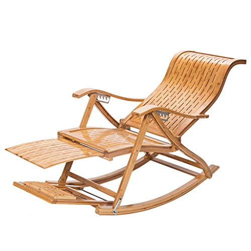 YNLRY Folding Rocking Chair Adult Home Recliner Old Lunch Break Chair Solid Wood Chair Rocking Chair Easy Chair Couch (Color : WOOD COLOR, Size : 97 * 62 * 77CM)