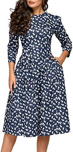 Simple Flavor Women s Floral Vintage Dress Elegant Midi Evening Dress 3 4 Sleeves 0805Navy XXL product image