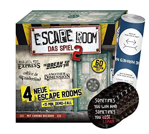 Collectix Escape Room Das Spiel 2 (juego básico), juego de mesa a partir de 16 años, 5 pegatinas de salida y 1 póster de ilusión óptica