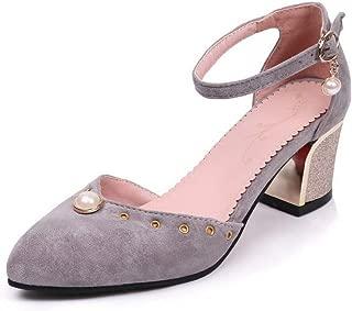 BalaMasa Womens ASL06412 Pu Block Heels