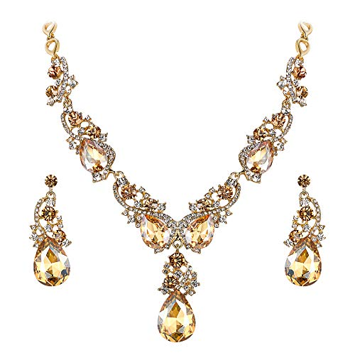 BriLove Wedding Bridal Necklace Earrings Jewelry Set for Women Multi Teardrop Cluster Crystal Statement Necklace Dangle Earrings Set Champagne Gold-Toned