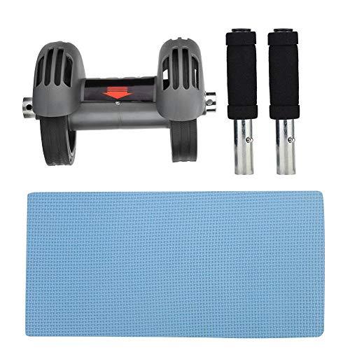 Atyhao Bauchmuskelrad für Bauchmuskeltraining, Kerntraining Bauchmuskel Rollenrad Doppelroller Bauchmuskel Trainingsgerät mit mattierter Kniescheibe und Griff für das Heim-Fitnessstudio(Grau)