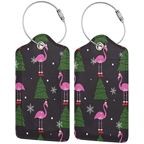 Christmas Flamingo Personalized Leather Luxury Suitcase Tag Set Travel Accessories Luggage Tags