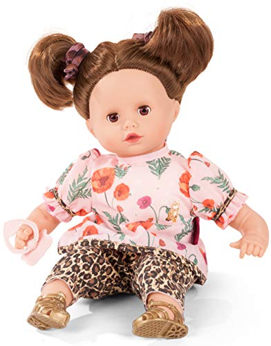 Götz 2020939 Muffin Catness Puppe - 33 cm große Babypuppe mit braunen Schlafaugen, braunen Haare und Weichkörper - Weichkörperpuppe in 8-teiligen Set