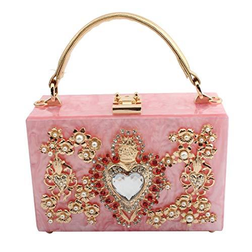 LETODE 96/5000 Bolso de embrague de cristal brillante para mujer Bolsos de noche de acrílico elegantes Bolso de fiesta de boda (5165-Rosado)
