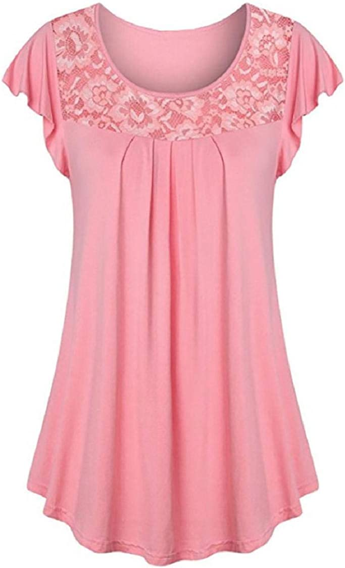 MISYAA Lace Tunic Tops for Women Cap-Sleeve Pure Color Casual Tees Shirts Pleated Basic Boat Neck Blouses Womens Tops