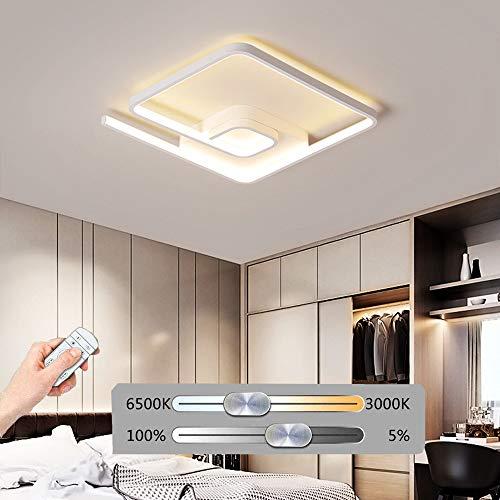 HIL LED-siliconenlamp, vierkant, stijlvolle plafondlamp, wit, dimbare aluminium binnenverlichting, geschikt voor slaapkamer, woonkamer, eetkamer, werkkamer, balkon, veranda