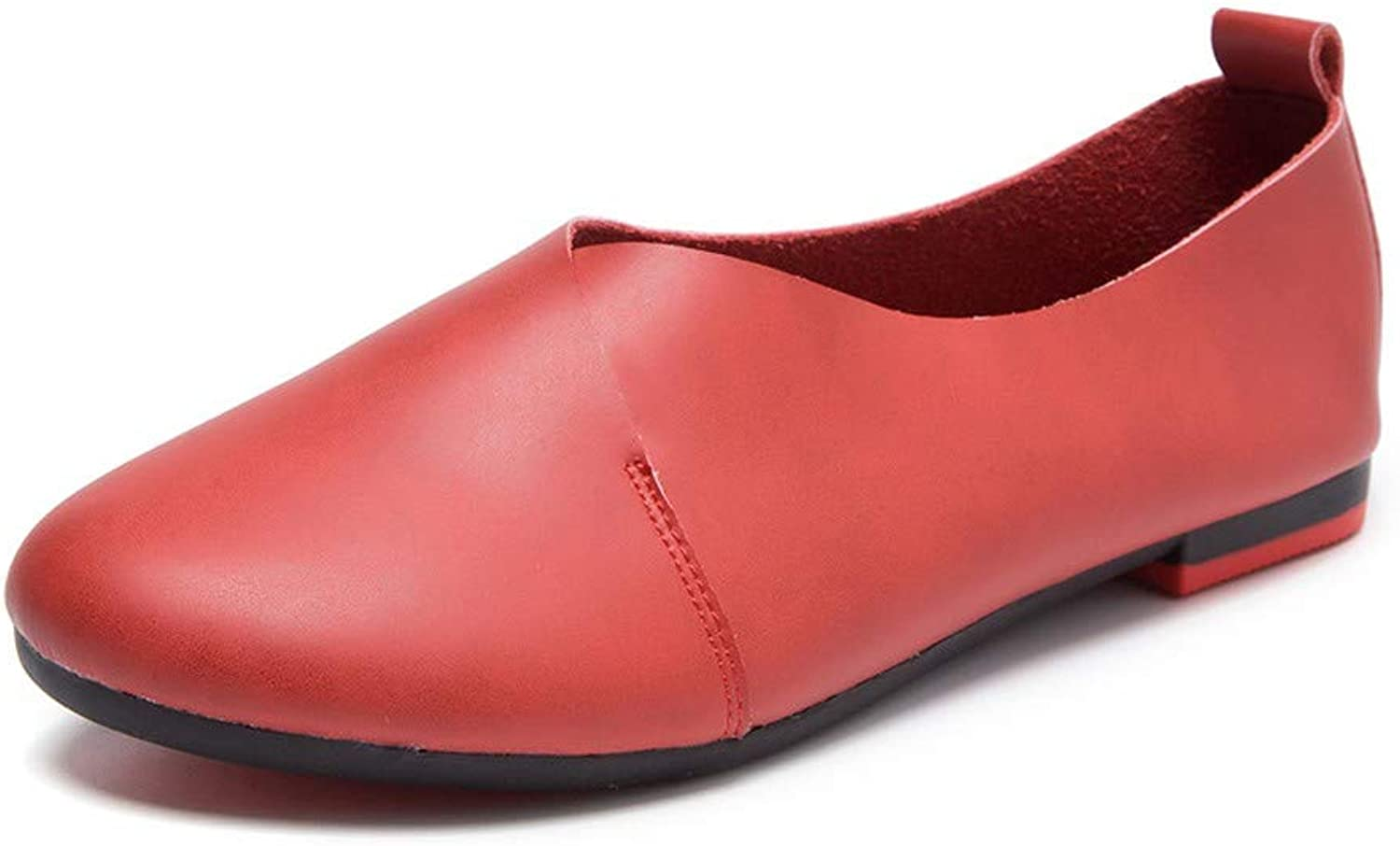 MetY Women's Leather Loafers Casual Slip-on Moccasins Comfort Driving Flats shoes
