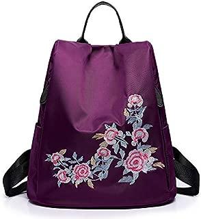TOOGOO National Wind Embroidery Nylon Backpack Oxford Cloth Waterproof Anti-Theft Travel Fashion Shoulder Bag Black