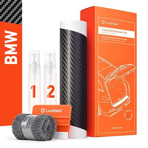Luxshield Ladekantenschutz Folie Komplettset - i3 I01 I 2013-2021 - Stoßstangenschutz, Kratzschutz, Lackschutzfolie - Carbon Optik Selbstklebend