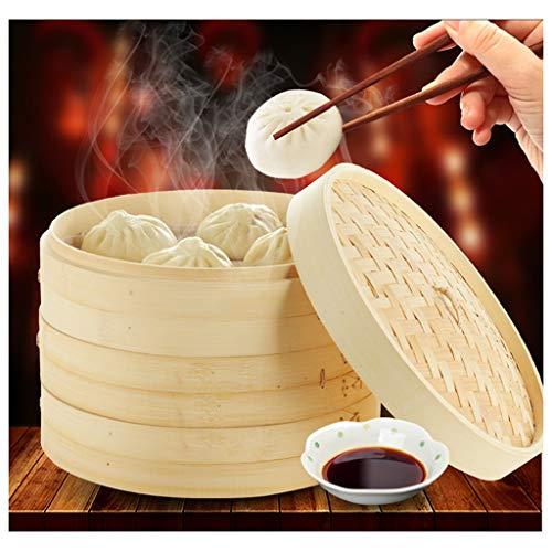 QTDH keukenstomer natuurlijke bamboe stoomboot, klassieke traditionele mand ontwerp gezond eten koken geweldig voor dumplings, groenten, kip, vis - stoom rijst