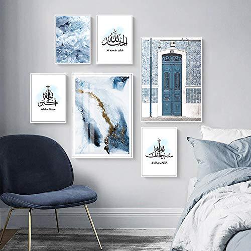 Islamische Allah muslimische Wandkunst Blaue Pfingstrose Blume Leinwand Malerei Plakate Drucke Islam Bild für Wohnzimmer Home Decor-6 Stück ohne Rahmen
