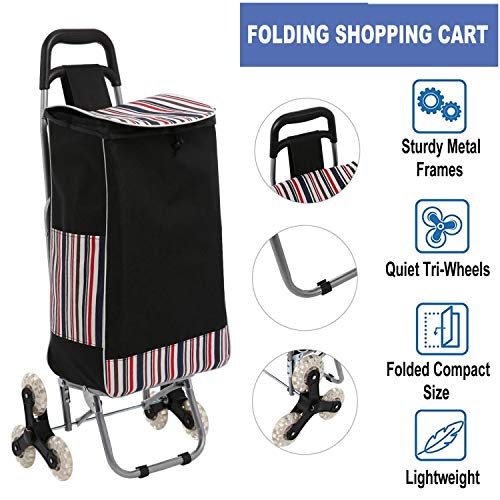 Folding Shopping Cart, Lightweight Stair Climbing Cart 150lbs Capacity Portable Grocery Utility Cart with Flexible Rolling Wheels & Removable Waterproof Canvas Bag(US Stock)