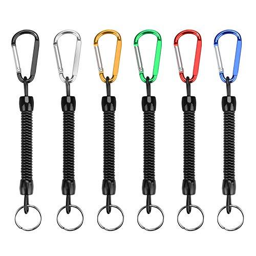 yidenguk Angeln Lanyard (6er Pack) für die Angelzange, Fischgreifer, Paddel, Fisch Tool in Bootfahren, Kajak, Camping und Jagd gewundener einziehbarer Schraubenfeder-Schlüsselkette für Schlüssel