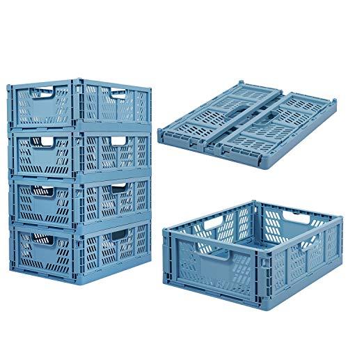 Confezione da 4 casse di plastica pieghevoli per alimenti, frutta, verdura, snack, giocattoli, articoli da toeletta, casa, cucina, ufficio, dispensa, organizzatore