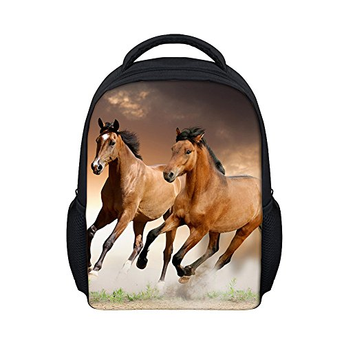 Moolecole 3D Horse Daypack Childrens Backpack Kids Rucksack Toddler Boys Girls Nursery School Bag