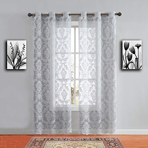 """WARM HOME DESIGNS Pair of Standard Length 38"""" x 84"""" Silver (Light Grey) Color Knitted Lace Curtains with 6 Grommets per Panel. Total Width 76"""". Chic, Flowing Design at Affordable Price. LI Silver 84"""""""