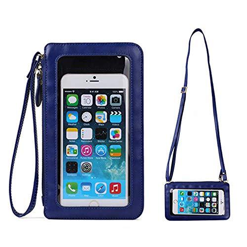 Small Women Crossbody Clutch Purse Cell Phone Wristlet Wallet Case Bag w/Cash Pocket Compatible iPhone Xs Max / 8 Plus / 7 Plus / 6S Plus / 6 Plus, iPhone Xs/XR/X / 8/7 (Royal Blue)