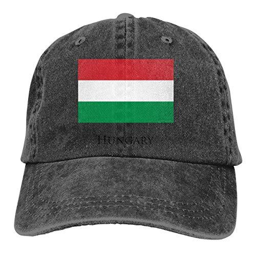 wwoman Unisex Erwachsene Vintage Washed Baseball Cap Verstellbarer Papa Hut - Ungarn Flagge schwarz