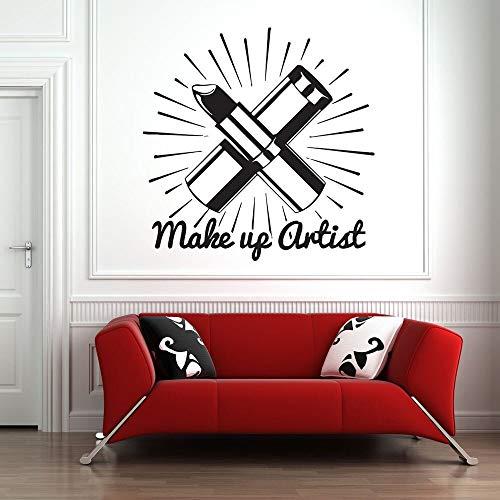 Salón de belleza pegatinas de pared lápiz labial lápiz labial mural habitación arte pegatinas de pared patrón cosmético maquillaje niña decoración del dormitorio