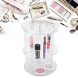 Organizador de maquillaje giratorio de 360 grados, soporte de maquillaje Organizador de cosméticos Soporte de exhibición de acrílico transparente Estante de exhibición para cosméticos
