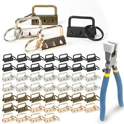 GORNORVA 50pcs Key Fob Hardware, Shynek Keychain Hardware Set Includes 1.25 Inch Key Fob Hardware with Key Fob Hardware Pliers for Wristlet Keychain, Key Lanyard and Key Chain Making Hardware Supplies