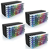 Polar Whale 4 Art Marker Storage Tray Organizers Pen Pencil Brush Storage Design Stand Supply Horizontal Storage Non-Scratch Non-Rattle Washable Compatible with Copic and More Each Holds 72