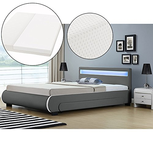 ArtLife Polsterbett Bilbao 140 x 200 cm mit Kaltschaum-Matratze – Einzelbett inkl. Bettkästen, LED Beleuchtung & Lattenrost – Kunstleder Bett – grau