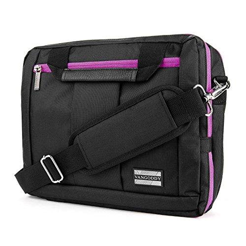 VanGoddy El Prado 3 in 1 Messenger + zaino + valigetta Trasformatore per tablet fino a 12,2 pollici, nero/viola