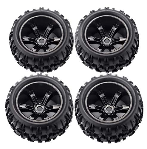RCStation 17mm Hex RC Wheels and Tires 1/8 Scale RC Monster Truck Buggy PreGlued RC Tires and Rims with Foam Inserts, Assembled RC Tires and Wheels for 1/8 17mm Hex Traxxas,Kraton,ERevo Etc Set of 4