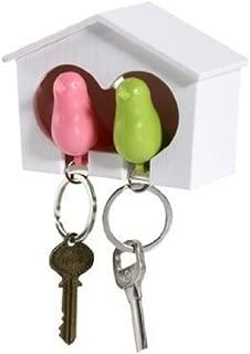 AKOAK Couple Pair Sparrow Bird House Nest Whistle Key Holder(One Bird Green and One Bird Pink)