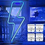 Luz de neón neón con flash, luz de neón LED para pared, para dormitorio, letreros luminosos alimentados por pilas o USB, cartel de luz nocturna de neón, decoración para bar, fiesta, Navidad (azul)