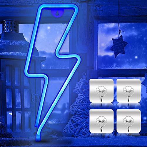 Luce al neon, luce al neon, luce al neon, da parete, per camera da letto, targhette luminose, alimentate da batteria o USB, luce notturna per bar, feste, Natale (blu)