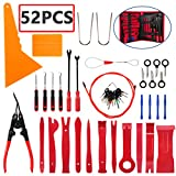 AUTDER Trim Removal Tool Set 52Pcs, Car Trim Puller Tool Kit, Plastic Pry Tools Set for Trim/Panel/Door/Audio, Auto Clip Pliers/Fastener Remover Set, Car Stereo/Terminal Removal Tool Kit - Red