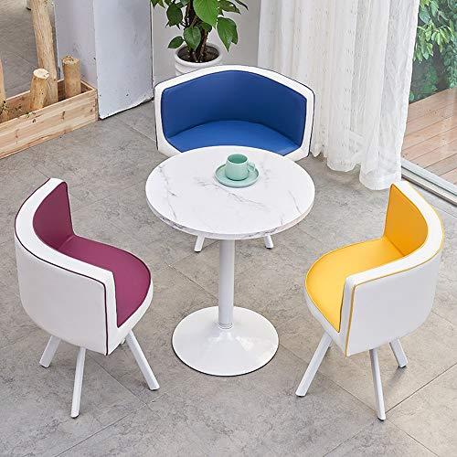 MEI XU Mesa y Juego de sillas, Mesa de Inicio Ocio Europea y Mesa Redonda Silla de Oficina de combinación Simple café, 7 Colores Disponibles @ (Color : G)