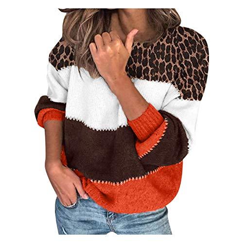 Suéter Casual de Manga Larga para Mujer Jersey de Punto de Patchwork de Color con Cuello Alto Sudadera Casual...