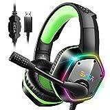 ゲーミングヘッドセット 7.1chサラウンドサウン ドPC用ヘッドセット USB接続 高集音マイク付き RGB ライト PC/PS4/ MAC OS対応 ゲームヘッドセット