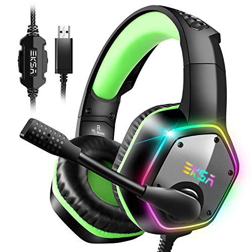 ゲーミングヘッドセット 7.1chサラウンドサウン ドPC用ヘッドセット USB接続 高集音マイク付き RGB ライト ...