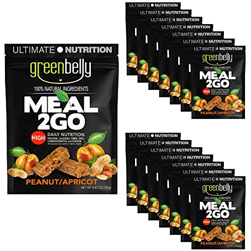 Greenbelly Backpacking Meals - Backpacking Food, Appalachian Trail Food Bars, Ultralight, Non-Cook, High-Calorie, Gluten-Free, Ready-to-Eat, All Natural Meal Bars (Peanut Apricot, 15 Meals)