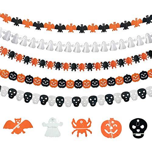 LOVEXIU Halloween Decorazioni Horror(5 Stile),Decorazioni Halloween Casa per Decorazioni Halloween Banner per Interni ed Esterni con Ghirlande di Carta di Halloween Forma di Pipistrello Ragno Zucca