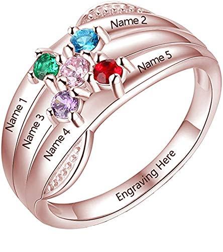 Anillo Familiar Personalizado Anillo de Mujer Personalizado con 5 Nombres Grabados y Piedra Natal Navidad para mamá(Oro Rosa 21,75)