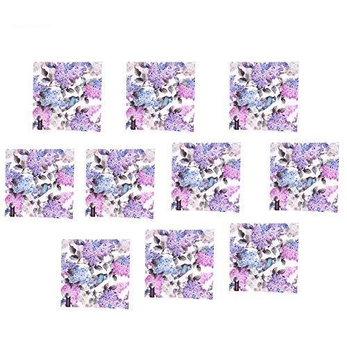 Azulejos Sticker-10Pcs Patrón de flores de pájaro Azulejos impermeables Calcomanías de pared para piso para decoración del hogar
