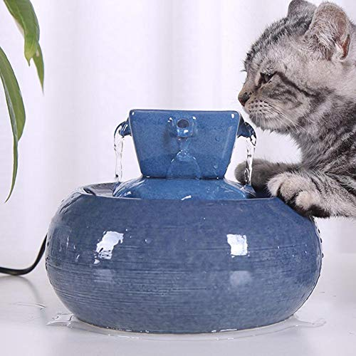 Createjia Katzen Trinkbrunnen, Katzenbrunnen Organischer Filter Leise rutschfest Hunde und Katzen Automatisch Leise Haustier Wasserbrunnen Wasserspender 253213cm Blau
