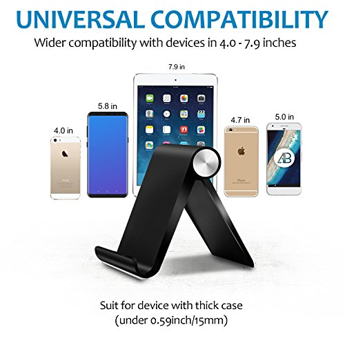 Adjustable Cell Phone Stand, Pack of Two, Foldable iPhone Stand Holder Cradle for Smartphone Tablet E-Reader, iPhone X 8 7 6 6s Plus SE 5 5s 5c iPad, Samsung Galaxy Google HTC LG, Black, Made by Fynix