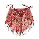 inhzoy Velo Danza del Vientre para Mujer Velo de Danza Árabe Disfraz de Fiesta Velo Media Cara con Cuentas Traje de Baile India Costume Rojo One Size