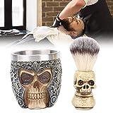 Brocha de afeitar, juego de brochas para barba con cabeza de esqueleto