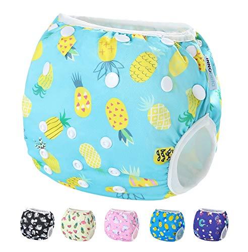 InnoBeta Pañal de Natación, Bañador Pañal reutilizables para Bebé, Bañador Tela Pañal lavable para niños niñas 0-2 años(Size M), Piña